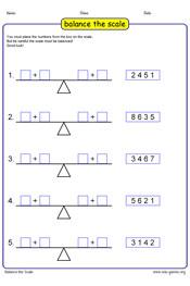 Balance the scale worksheet